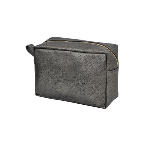 Dark Silver NGIL Faux Leather Large Cosmetic Travel Pouch