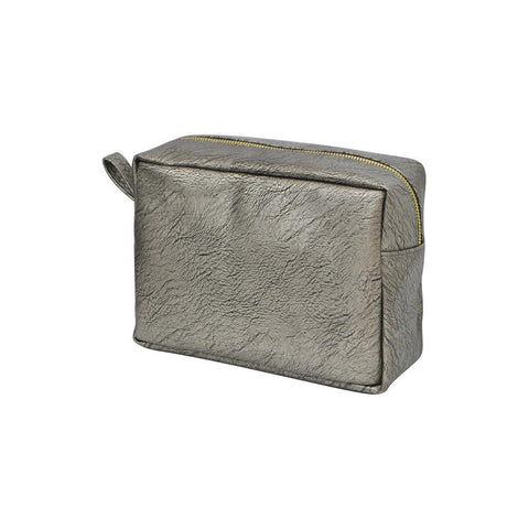 Silver NGIL Faux Leather Large Cosmetic Travel Pouch