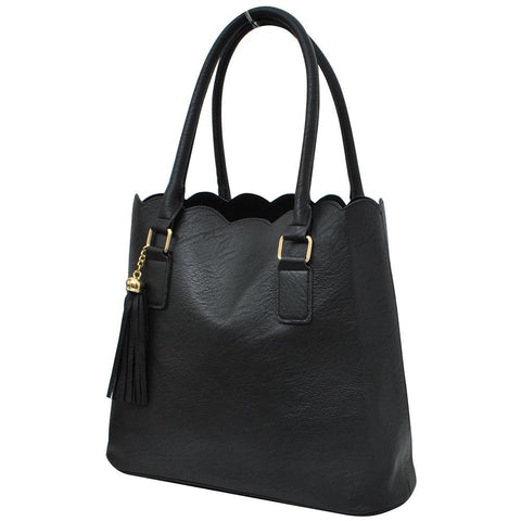 Black NGIL Faux Leather Scallop Fashion Bag
