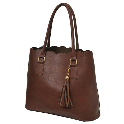 Brown NGIL Faux Leather Scallop Fashion Bag