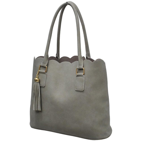 Gray NGIL Faux Leather Scallop Fashion Bag