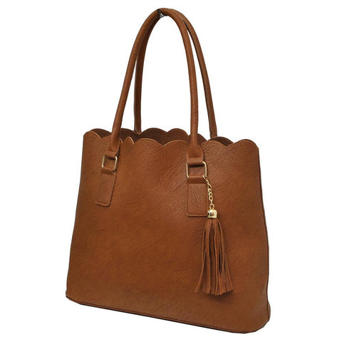 Light Brown NGIL Faux Leather Scallop Fashion Bag