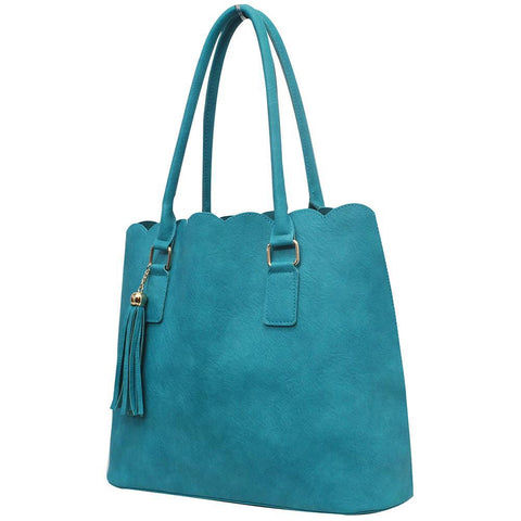 Turquoise NGIL Faux Leather Scallop Fashion Bag