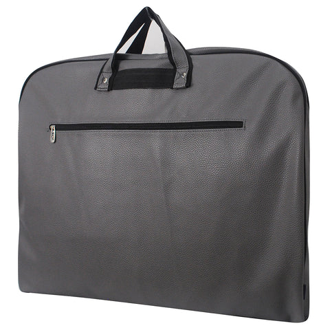 Simple taupe gray garment bags for storage, faux leather wholesale garment bags, dress storage garment bags, in bulk garment bags for easy attic storage, garment storage bag for cheer uniform