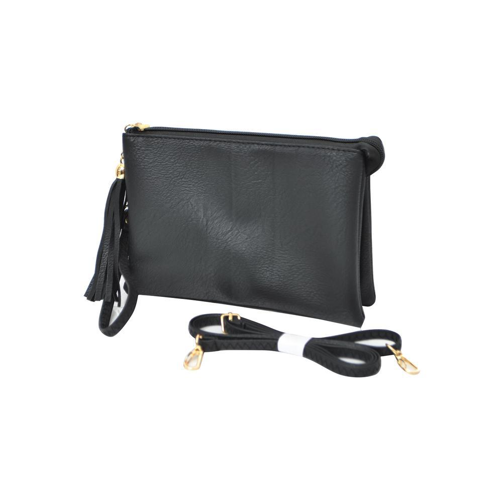 Black NGIL Faux Leather Triple Compartment Crossbody Bag