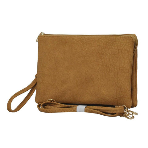 Camel NGIL Faux Leather Triple Compartment Crossbody Bag
