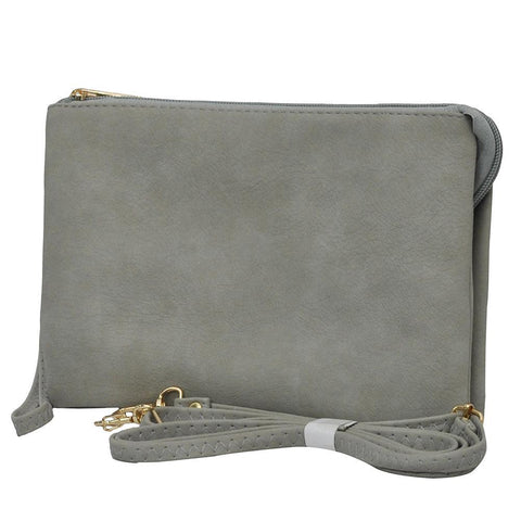 Gray NGIL Faux Leather Triple Compartment Crossbody Bag