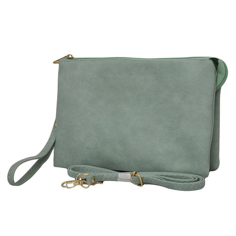 Mint NGIL Faux Leather Triple Compartment Crossbody Bag