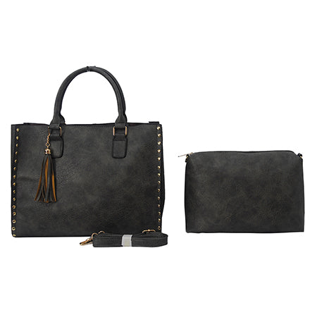 Dark Gray NGIL Faux Leather 2-IN-1 Tassel Bag