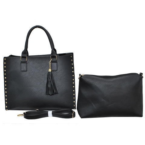 Black NGIL Faux Leather 2-IN-1 Tassel Bag