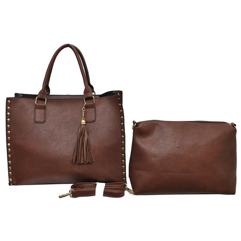 Brown NGIL Faux Leather 2-IN-1 Tassel Bag