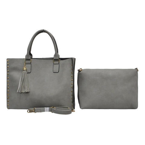 Gray NGIL Faux Leather 2-IN-1 Tassel Bag