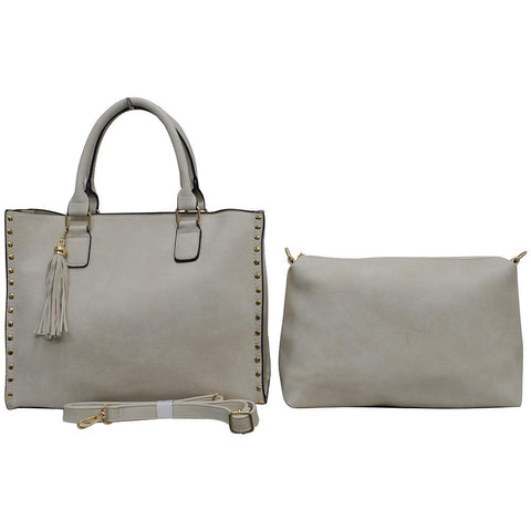 Ivory NGIL Faux Leather 2-IN-1 Tassel Bag