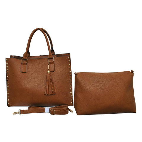 Light Brown NGIL Faux Leather 2-IN-1 Tassel Bag