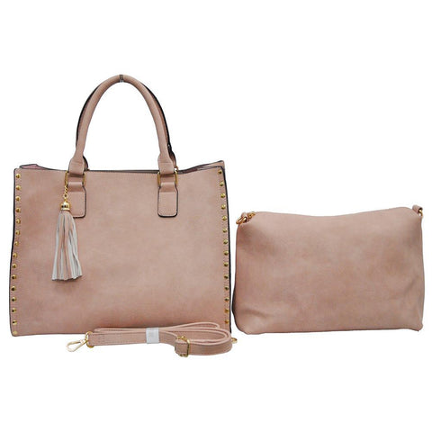 Pink NGIL Faux Leather 2-IN-1 Tassel Bag