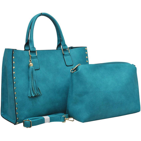 Turquoise NGIL Faux Leather 2-IN-1 Tassel Bag