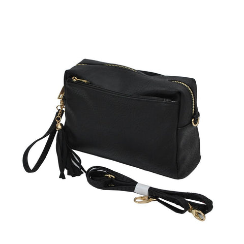 Black NGIL Faux Leather Tassel Crossbody