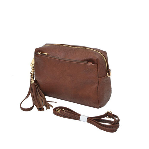 Brown NGIL Faux Leather Tassel Crossbody
