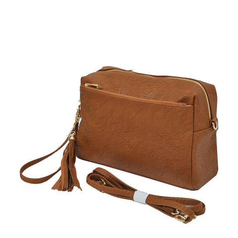 Light Brown NGIL Faux Leather Tassel Crossbody