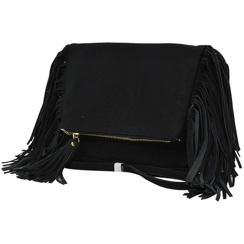 Black NGIL Fringed Faux Leather Crossbody Bag