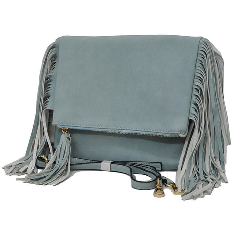 Blue NGIL Fringed Faux Leather Crossbody Bag