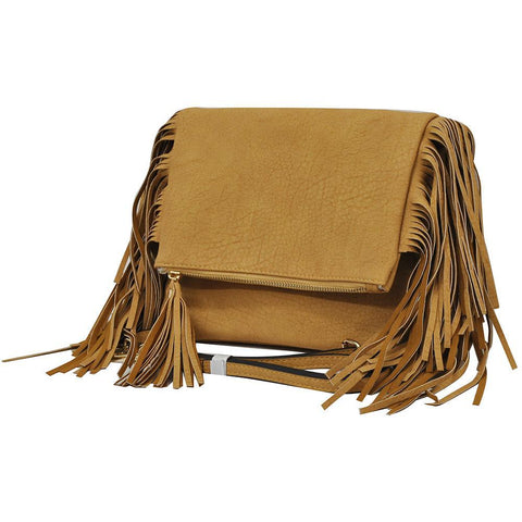 Camel NGIL Fringed Faux Leather Crossbody Bag