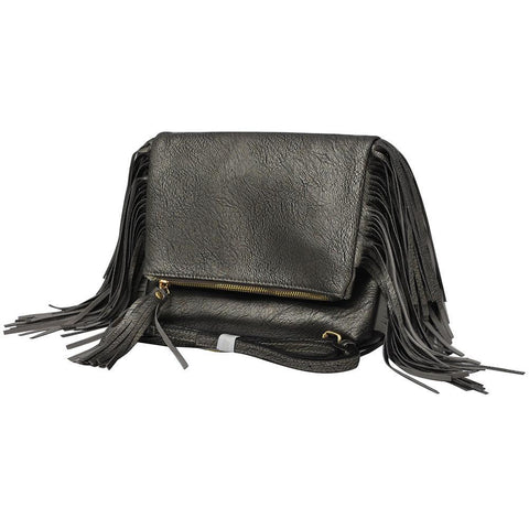Dark Silver NGIL Fringed Faux Leather Crossbody Bag