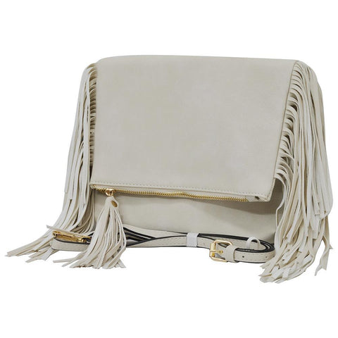 Ivory NGIL Fringed Faux Leather Crossbody Bag