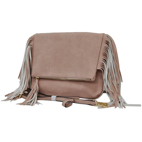 Pink NGIL Fringed Faux Leather Crossbody Bag