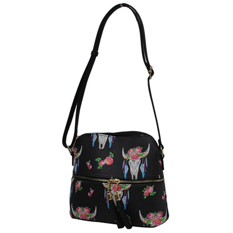 SALE ! Bull Skull NGIL Faux Leather Tassel Tote Crossbody