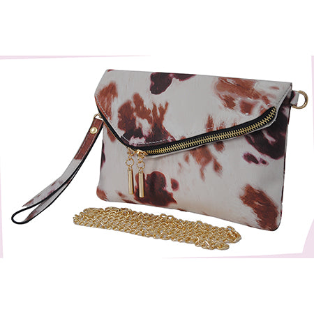 Cow Print NGIL Faux Leather Envelope Crossbody / Clutch