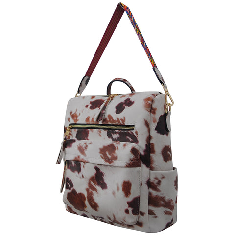 Cow Print Faux Leather NGIL Over the Shoulder Backpack