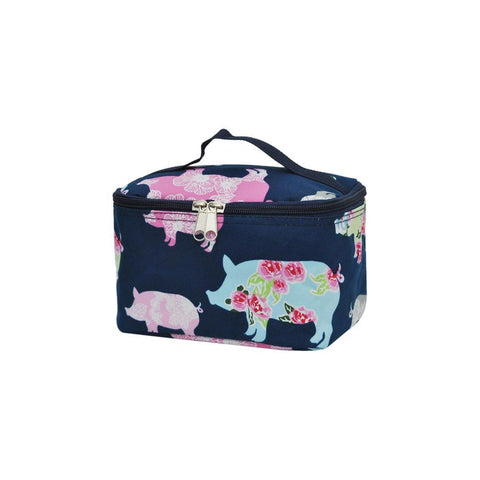 cute makeup case, pig makeup case, pig cosmetic case, pig makeup bag for brushes, pig makeup bags jewelry, navy blue makeup bag,
