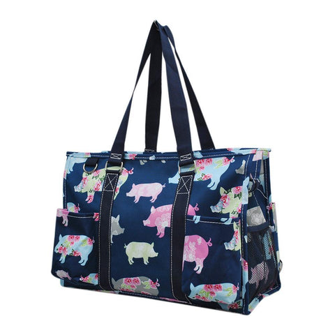 Pig in the Summer NGIL Zippered Caddy Organizer Tote Bag