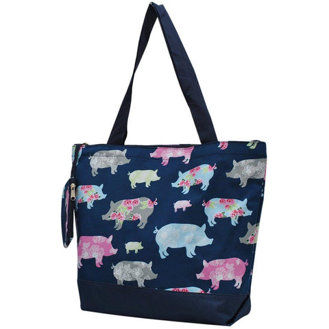 navy tote bag, navy pig tote bag, Overnight bag, monogram gifts for her, personalized accessories bag, personalized tote for women, personalized gifts for her, NGIL Brand, ngil tote, tote bag supplier, wholesale tote bags bulk, cute pigs tote bags, nice pig print,