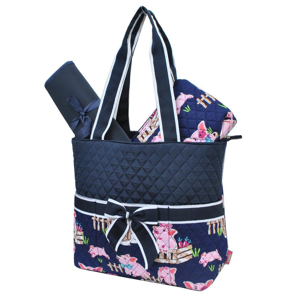 Happy Pig Town Navy NGIL Quilted 3pcs Diaper Bag