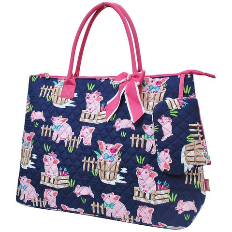 Happy Pig Town NGIL Quilted Overnight Tote Bag