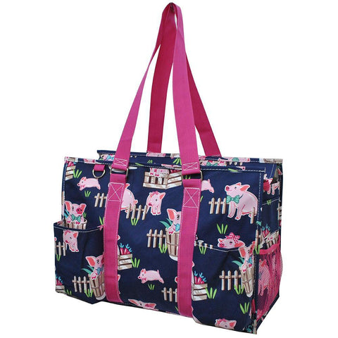 Happy Pig Town NGIL Zippered Caddy Large Organizer Tote Bag
