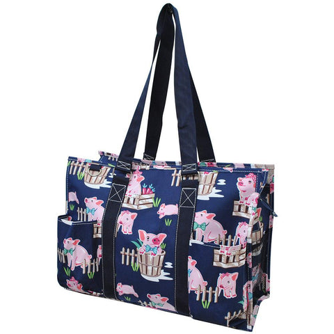 Monogramable Tote, Large Tote Bag, personalized tote bag with zipper, personalized bags bulk, monogramable gifts wholesale, nurse tote bags, student nurse gift for women, teacher gift personalized, cute pig, pig pattern, cute pigs on a bag.