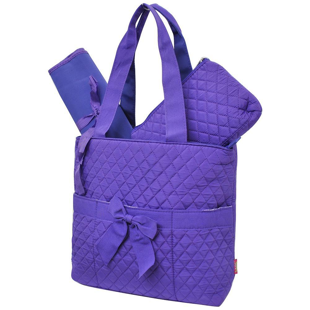 Purple Solid Color NGIL Quilted 3pcs Diaper Bag