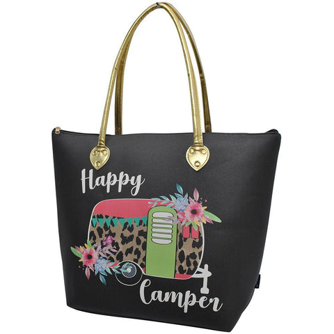 Floral Happy Camper Black NGIL Gold Collection Tote Bag