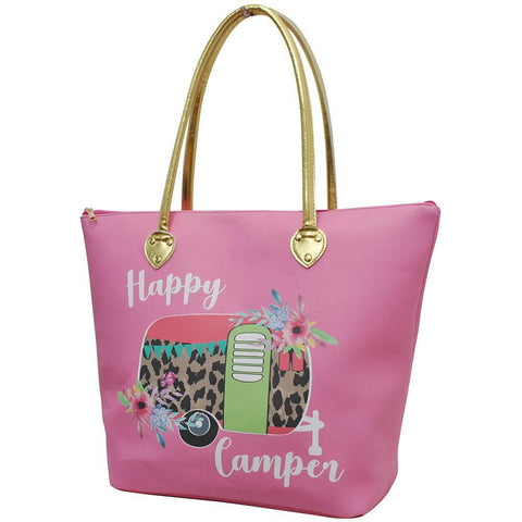 Floral Happy Camper Coral NGIL Gold Collection Tote Bag