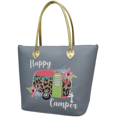 Floral Happy Camper Gray NGIL Gold Collection Tote Bag