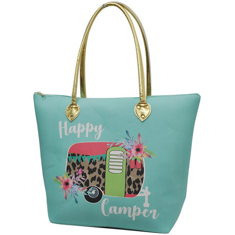 Floral Happy Camper Mint NGIL Gold Collection Tote Bag