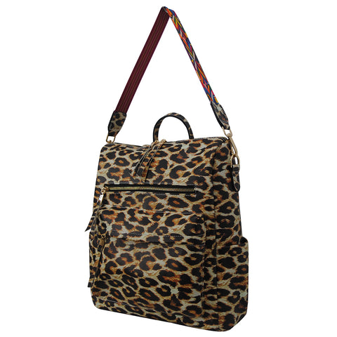 Wild Leopard Faux Leather NGIL Over the Shoulder Backpack