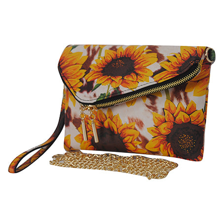 Cow Print with Sunflower NGIL Faux Leather Envelope Crossbody / Clutch