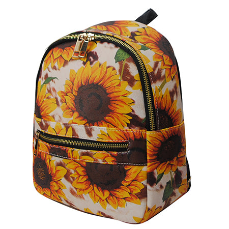 Cow Print with Sunflower NGIL Faux Leather Mini Backpack