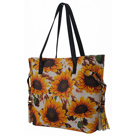 Cow Print with Sunflower NGIL Faux Leather Side Tassel Shoulder Bag