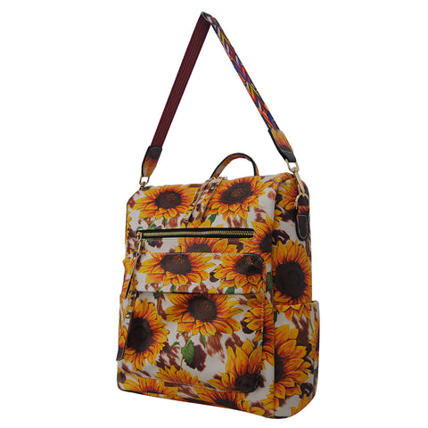 Cow Print with Sunflower Faux Leather NGIL Over the Shoulder Backpack