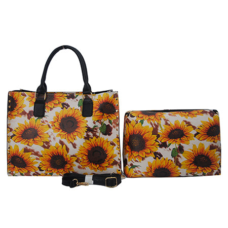 Cow Print with Sunflower NGIL Faux Leather 2-IN-1 Tassel Bag